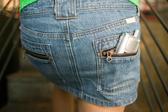 Cell Phone in Back Pocket of Miniskirt